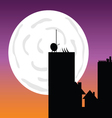 buildings in the moonlight art color vector image vector image