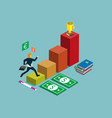 business isometric for success graph vector image vector image