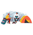 camping people man and woman sitting tent vector image vector image