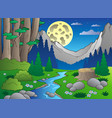cartoon forest landscape 3 vector image vector image