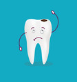 cartoon sick tooth decay and destroy tooth cute vector image vector image