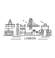 city lisbon in outline style on white vector image