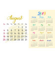 colorful planner 2019 august separately vector image vector image