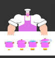 cooking instruction template chef and saucepan vector image vector image