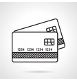 Credit cards black line icon vector image