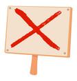 cross sign icon cartoon style vector image vector image