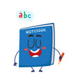 cute and funny smiling school notebook notepad vector image vector image