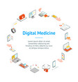 digital medicine 3d banner card circle isometric vector image vector image