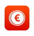 euro coins icon digital red vector image vector image