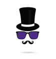 face with mustache and sunglasses vector image vector image