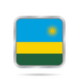 flag of rwanda shiny metallic gray square button vector image