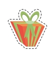 gift box green ribbon bow stripes line dotted vector image vector image