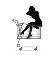 girl silhouette in shopping basket vector image vector image