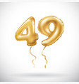 golden number 49 forty nine metallic balloon vector image vector image