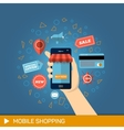 Hand with phone Online shopping vector image