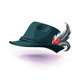 hat with white feather sticks out national german vector image vector image