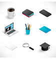 isometric education icon set medium vector image