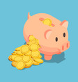 isometric golden coin come out from broken piggy vector image