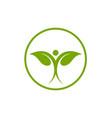 leaf healthy logo template vector image vector image