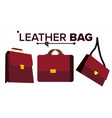 leather bag office brown elegance vector image vector image