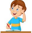 little boy having a good idea vector image vector image