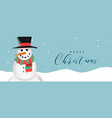 merry christmas card funny snowman cartoon vector image
