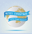 merry christmas earth icon with red ribbon around vector image