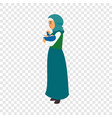 mother carry baby icon flat style vector image