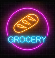 neon grocery store glowing sign on a brick wall vector image vector image