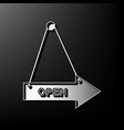 open sign gray 3d printed vector image vector image