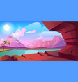 prehistoric landscape with volcano and lake vector image vector image