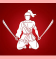 samurai warrior sitting with swords cartoon vector image vector image