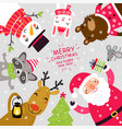 santa and animals christmas card vector image
