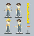 set of young builder vector image vector image