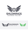 shield wings logo design vector image vector image