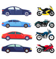 sports cars and motorbikes set vehicles transport vector image vector image