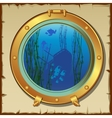 Submarines porthole with underwater view landscape vector image vector image