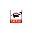 sushi with chopsticks in square logo vector image