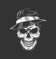 vintage monochrome gangster skull in hat vector image vector image