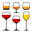 wine glasses icons vector image