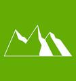 mountains icon green vector image