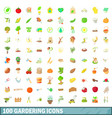 100 gardering icons set cartoon style vector image vector image