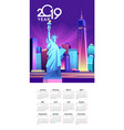 2019 calendar night city vector image vector image