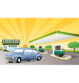 a house and gas station vector image vector image