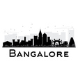 Bangalore City skyline black and white silhouette vector image vector image
