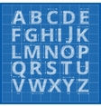 Blueprint alphabet drafting paper letters vector image