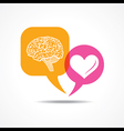 Brain and heart in message bubble vector image vector image