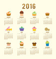 calendar 2016 cupcake cartoon cute vector image vector image