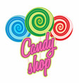 candy shop logo sweet icon or symbol for cafe vector image vector image