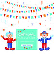 carnival funfar colorful template witn clowns vector image vector image